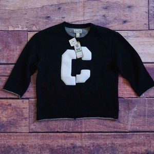 Converse Sweater Black Curled Hem 3/4 Sleeves